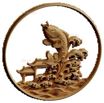 stl модель-Панно Рыбка вынырнула в Китае