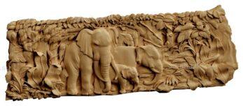 stl модель-Панно Семья слонов в джунглях