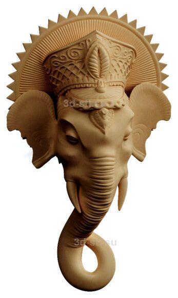 stl модель-Панно Глолова индийского слона