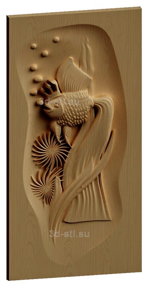 stl модель-Панно Рыбка Золотая