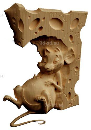 stl модель-Панно Крыска и сыр