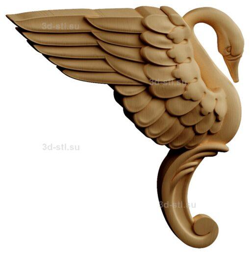 stl модель-Панно Лебедь