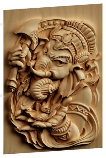 stl модель-Панно Слон Бог- Ганеша