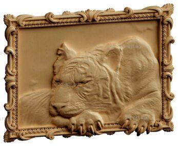 stl модель-Панно Тигр