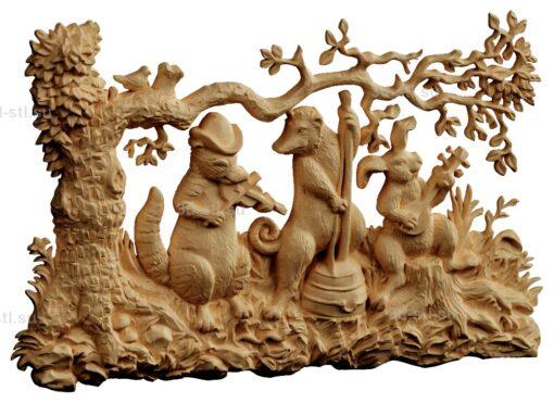 stl модель-Панно Под деревом