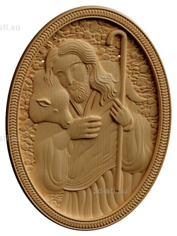stl модель-Панно Иисус с овечкой
