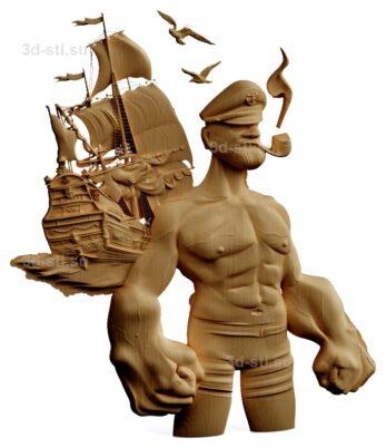 stl модель-Панно Попай- моряк