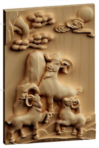 stl модель-Панно Козлики
