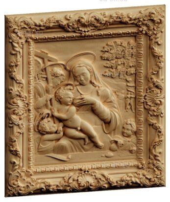 stl модель-Панно Мария с младенцем Иисусом