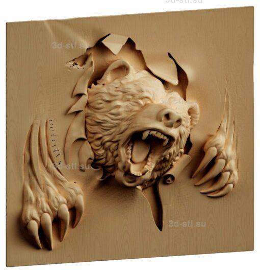 stl модель-Панно Мишкак в гневе