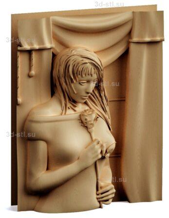 stl модель-Панно Дева с розой