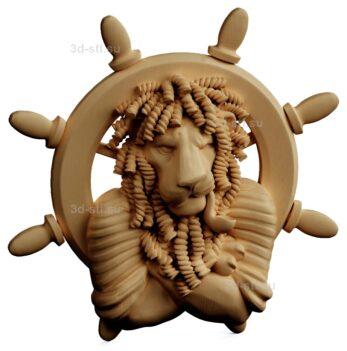 stl модель-Панно морской лев