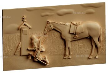 stl модель-Панно Казак с конем