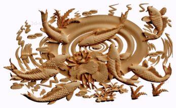 stl модель-панно  рыбы и лотос
