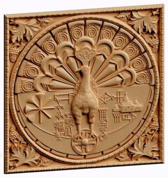 stl модель-панно  Павлин Египетский
