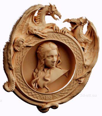 stl модель-панно мать драконов