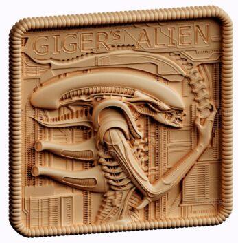 stl модель-панно Gigers Alien Wal Plaque/ чужой