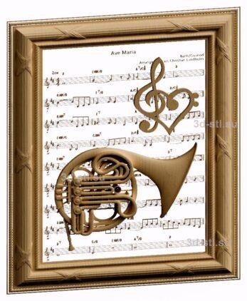3d stl модель-панно симфонический инструмент