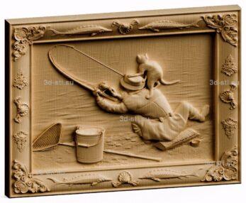 3d stl модель-панно  кот-рыболов