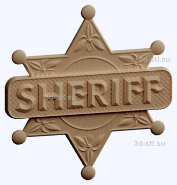 3d stl модель-шериф эмблема