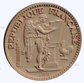 3d stl модель-монета Француии 20 франков лицевая сторона
