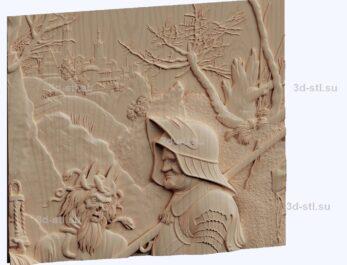 3d stl модель-Рыцарь смерть и дьвол- Альбрехта Дюрера панно № 1154