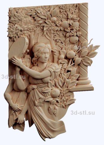 3d stl модель-праздник в саду панно № 1155