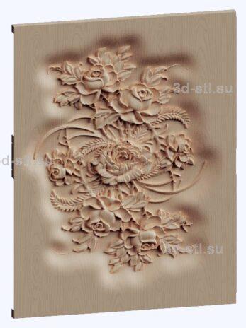 3d stl модель-цветы панно № 1162