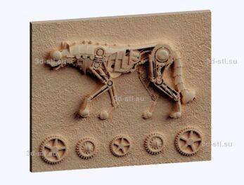 3d stl модель-механическая собака панно № 1164