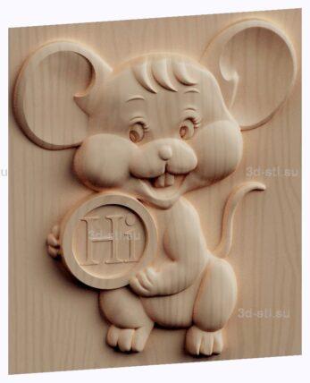 3d stl модель-панно  Hi мышонок