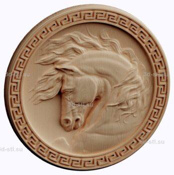 3d stl модель-медальон с лошадью