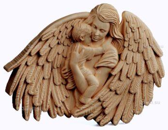 3d stl модель-панно мать- Ангел хранитель