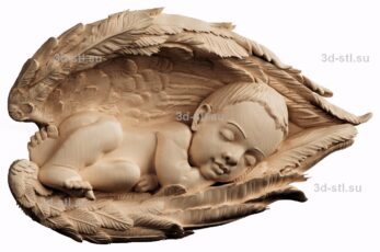 3d stl модель-панно Спящее дитя в крыльях
