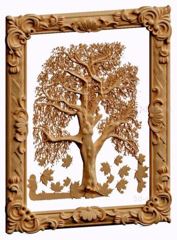 stl модель-панно девушка-дерево в рамме