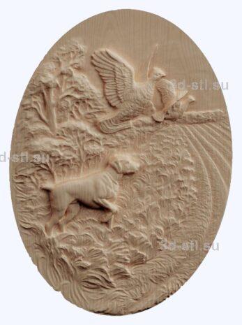 3d stl модель-собачья охота на фазана панно № 1191