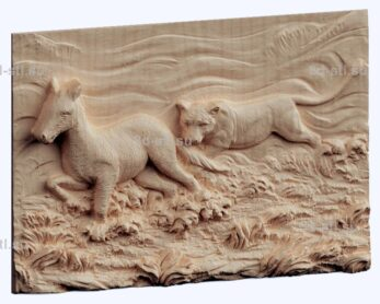 3d stl модель-волчья охота панно № 1196