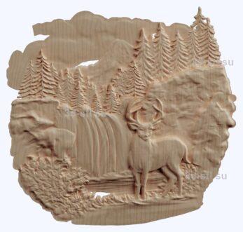 3d stl модель-олень в лесу панно № 1199