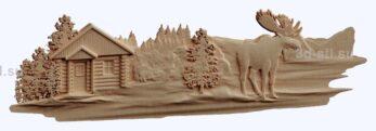 3d stl модель-лесная изба и лось панно № 1202