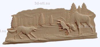 3d stl модель-лось и собака-противостояние панно № 1204