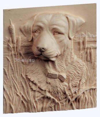 3d stl модель-охотничий пес панно № 1209