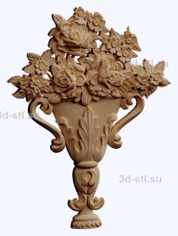 3d stl модель-панно с цветами № 1265