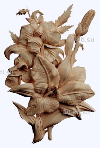 3d stl модель-панно с цветами № 1266