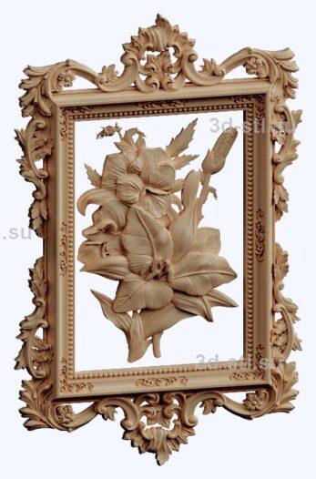 3d stl модель-панно с цветами № 1270