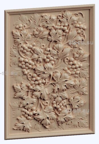 3d stl модель-панно с цветами № 1271