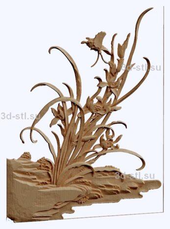 3d stl модель-панно с цветами № 1274