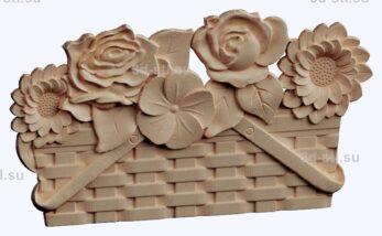 3d stl модель-панно с цветами № 1282