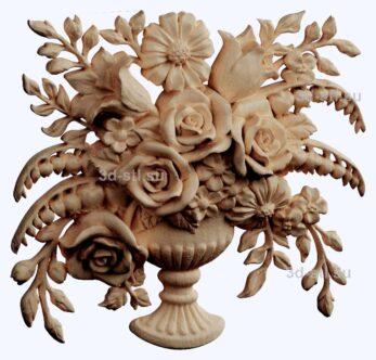 3d stl модель-панно с цветами № 1283