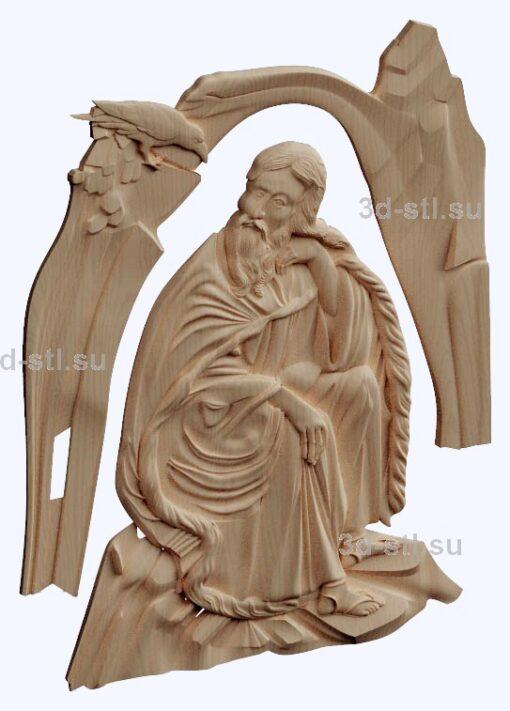 3d stl модель-Святой Илья панно