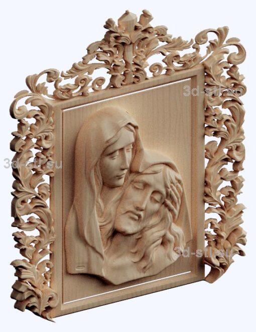 3d stl модель-Христос и Мария панно