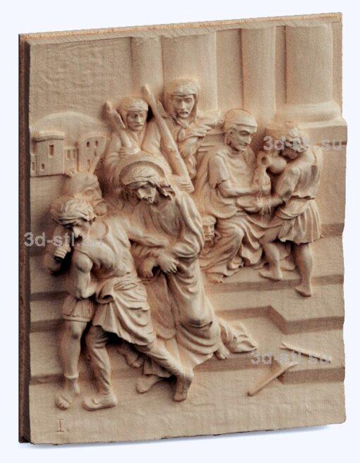 3d stl модель-казнь Христа панно